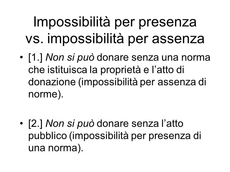 Impossibilità per presenza vs. impossibilità per assenza