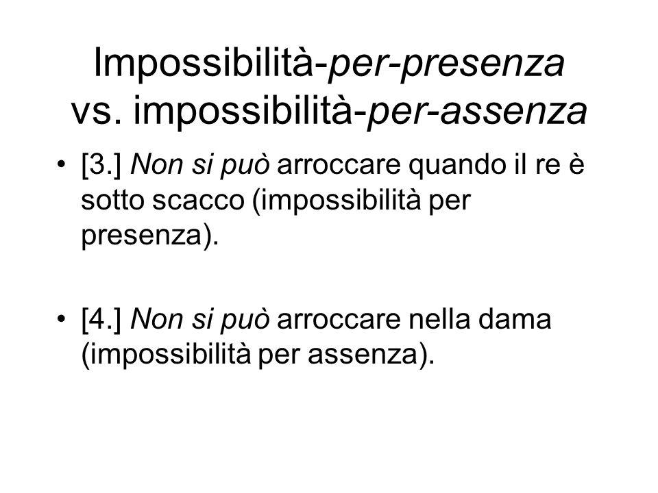 Impossibilità-per-presenza vs. impossibilità-per-assenza