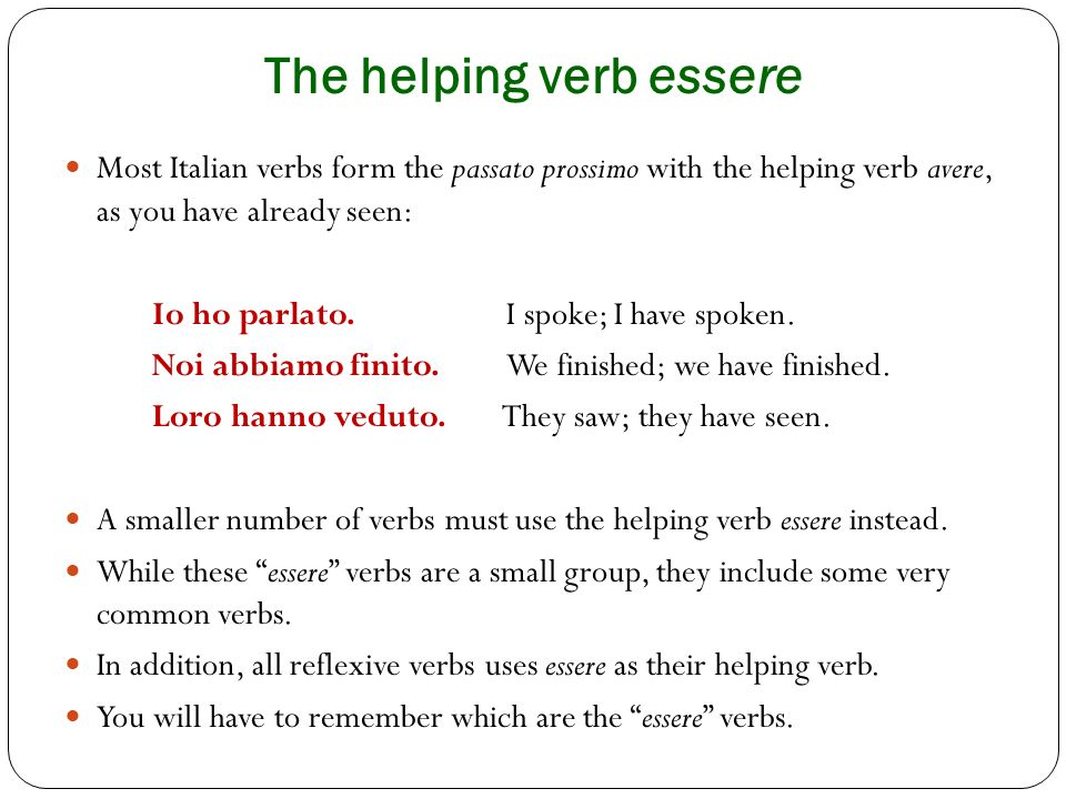 The helping verb essere