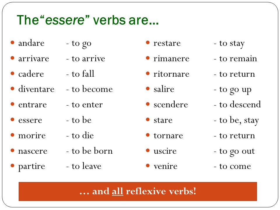 The essere verbs are…