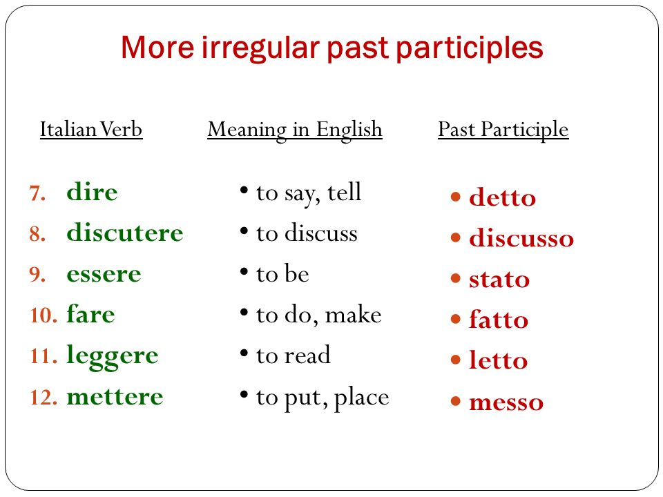 More irregular past participles