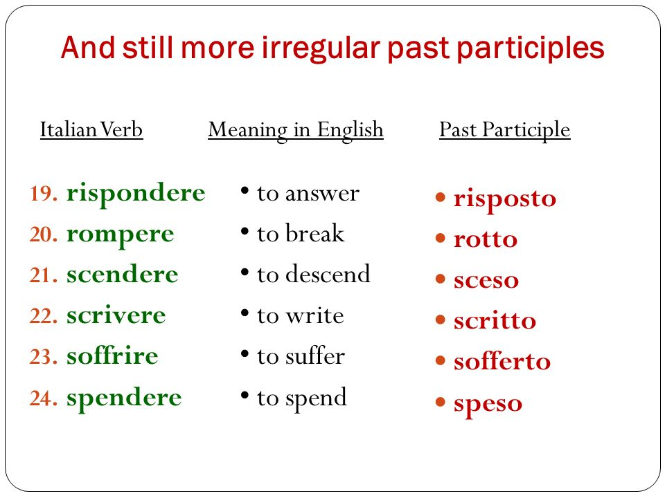 And still more irregular past participles