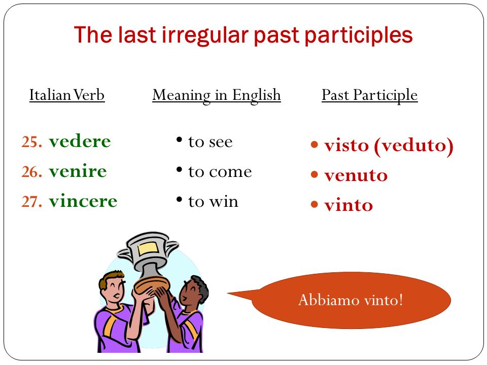 The last irregular past participles