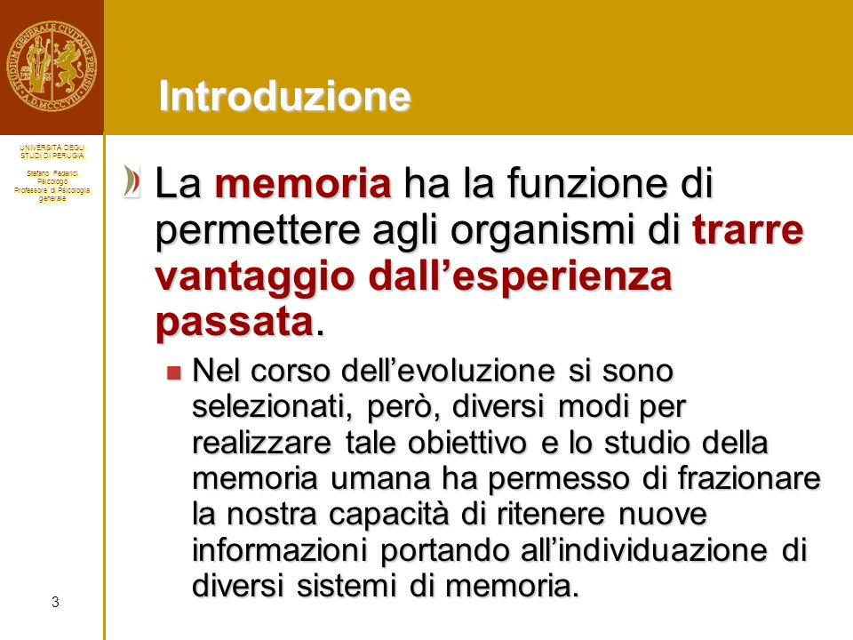 Introduzione La memoria ha la funzione di permettere agli organismi di trarre vantaggio dall'esperienza passata.