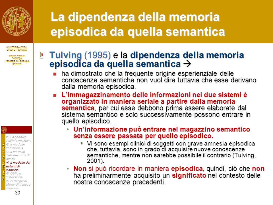 La dipendenza della memoria episodica da quella semantica