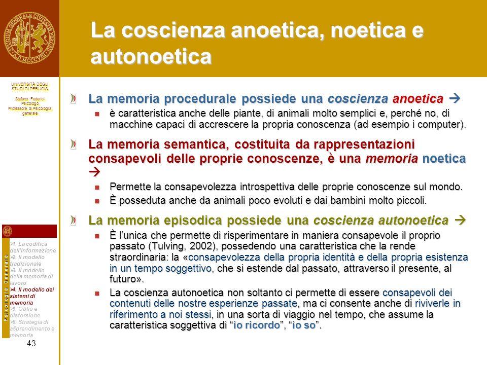 La coscienza anoetica, noetica e autonoetica