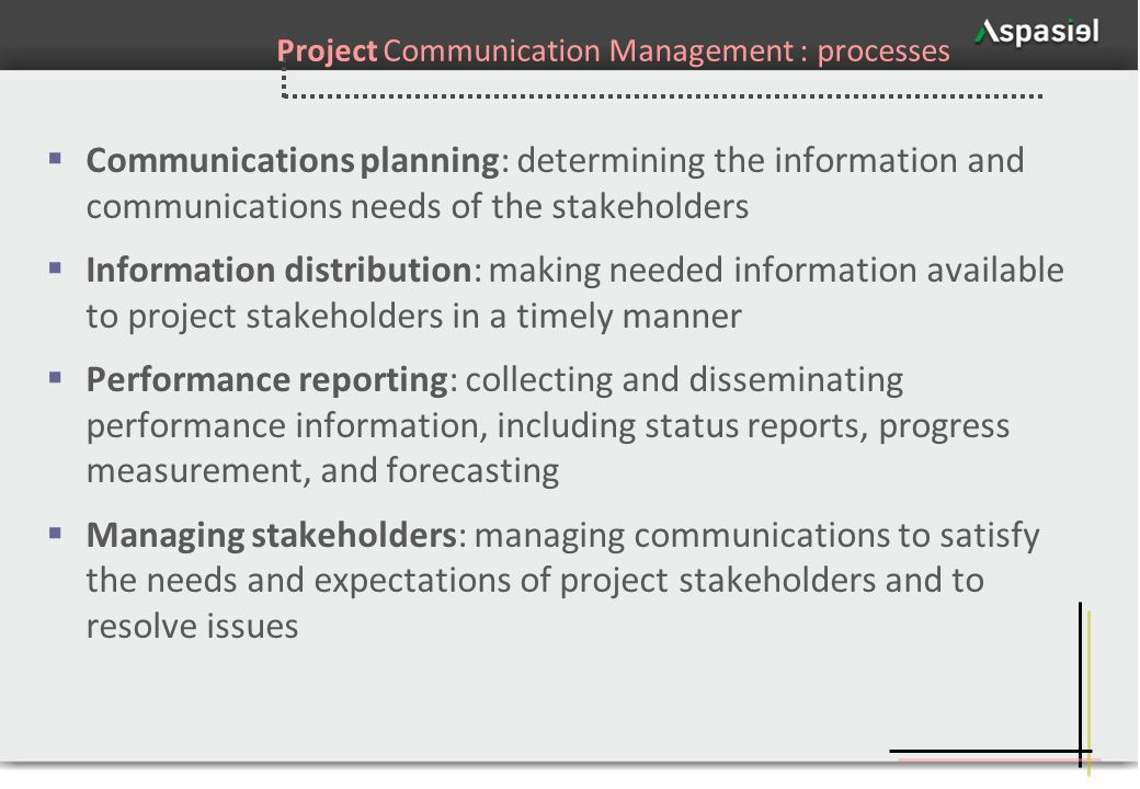 Project Communication Management : processes