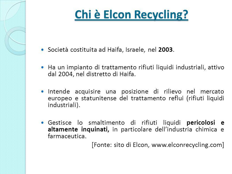 Chi è Elcon Recycling Società costituita ad Haifa, Israele, nel 2003.