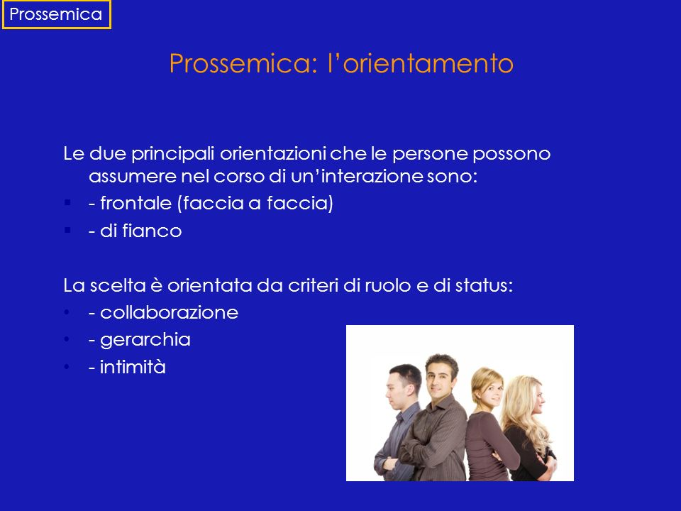 Prossemica: l'orientamento