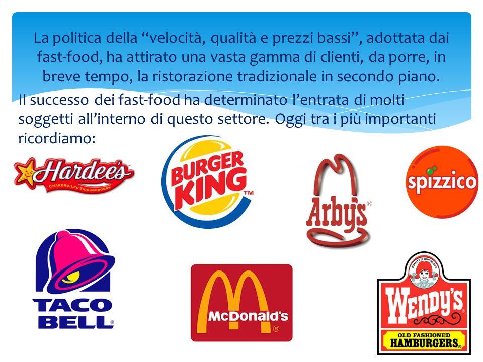 La politica della velocità, qualità e prezzi bassi , adottata dai fast-food, ha attirato una vasta gamma di clienti, da porre, in breve tempo, la ristorazione tradizionale in secondo piano.
