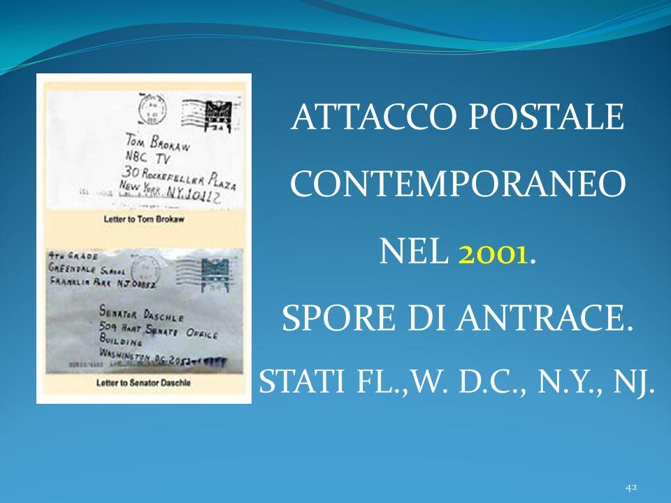 ATTACCO POSTALE CONTEMPORANEO NEL 2001. SPORE DI ANTRACE.