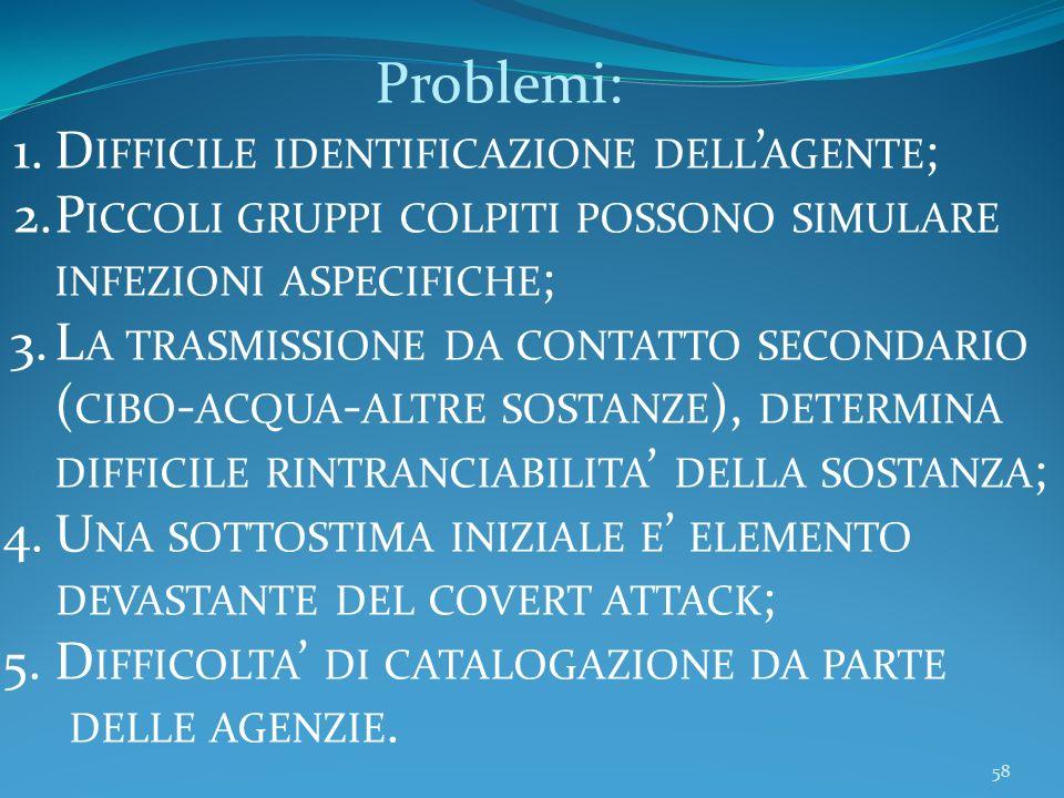 Problemi: Difficile identificazione dell'agente; Piccoli gruppi colpiti possono simulare infezioni aspecifiche;