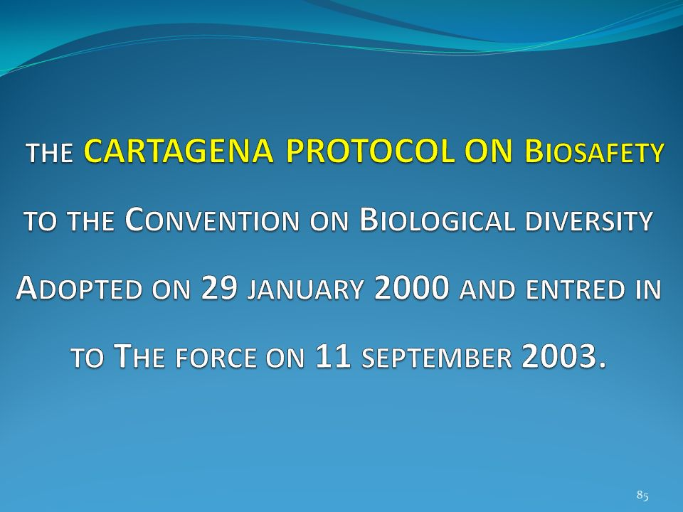 the CARTAGENA PROTOCOL ON Biosafety to the Convention on Biological diversity Adopted on 29 january 2000 and entred in to The force on 11 september 2003.