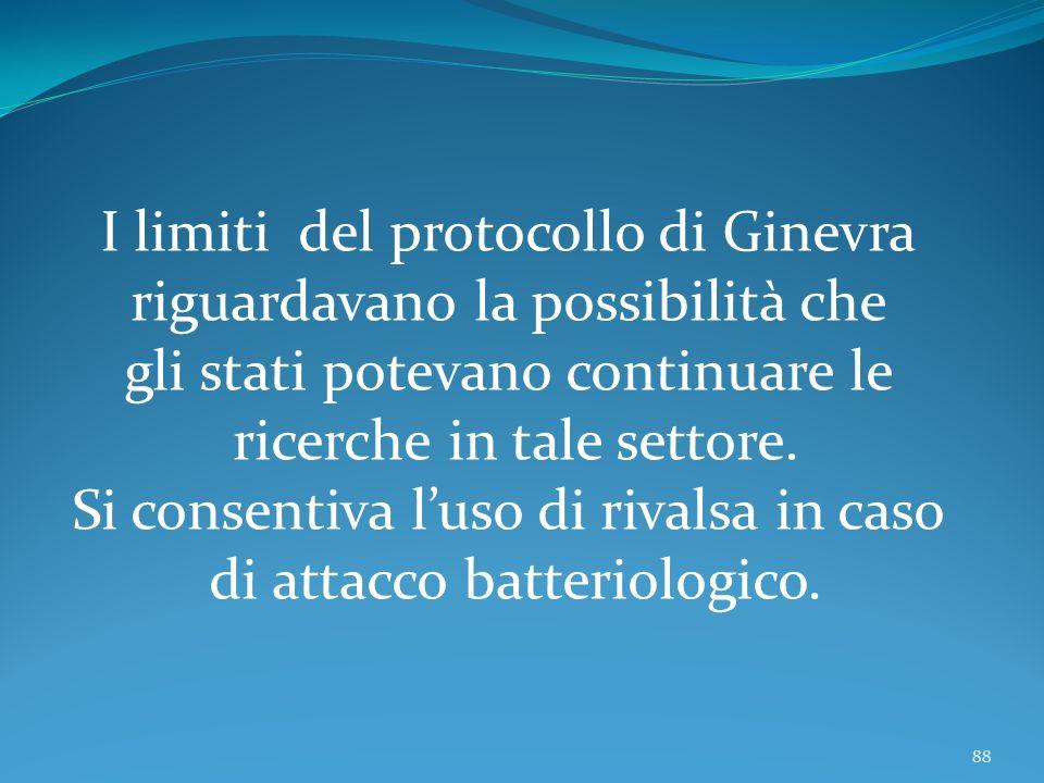 I limiti del protocollo di Ginevra riguardavano la possibilità che