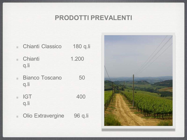 PRODOTTI PREVALENTI Chianti Classico 180 q.li Chianti 1.200 q.li