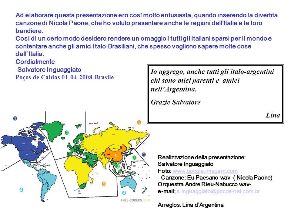 Ad elaborare questa presentazione ero così molto entusiasta, quando inserendo la divertita canzone di Nicola Paone, che ho voluto presentare anche le regioni dell Italia e le loro bandiere.
