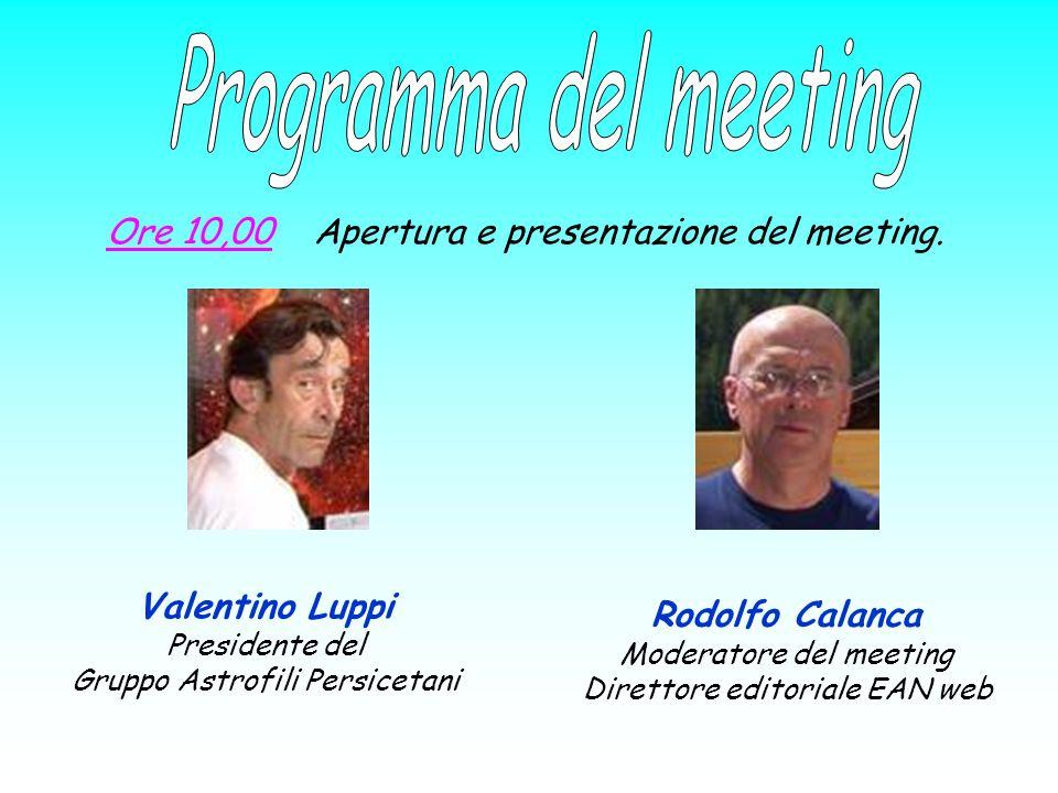 Programma del meeting Ore 10,00 Apertura e presentazione del meeting.