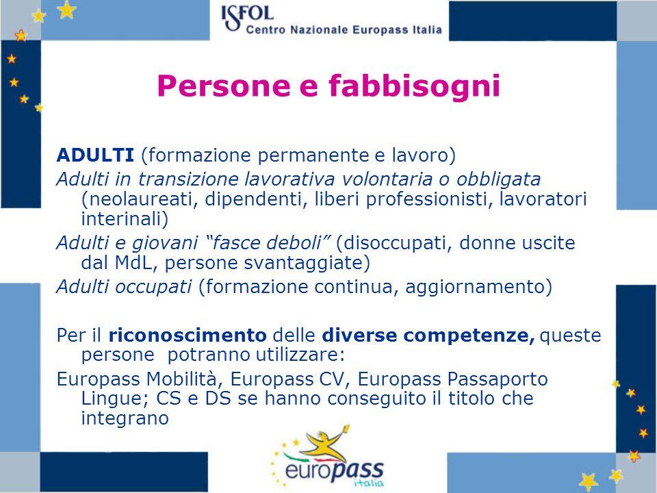 Persone e fabbisogni ADULTI (formazione permanente e lavoro)