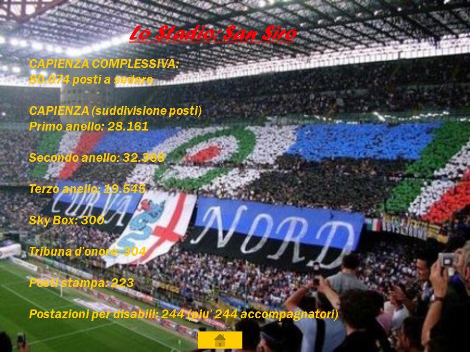 Lo Stadio: San Siro CAPIENZA COMPLESSIVA: 80.074 posti a sedere