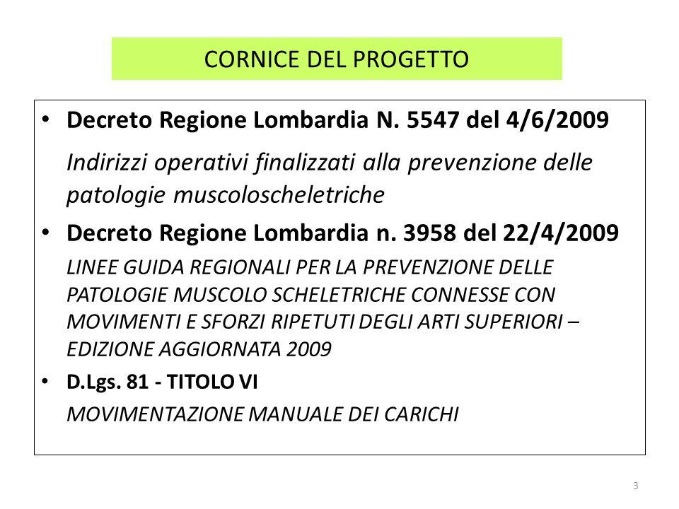 CORNICE DEL PROGETTO Decreto Regione Lombardia N. 5547 del 4/6/2009.