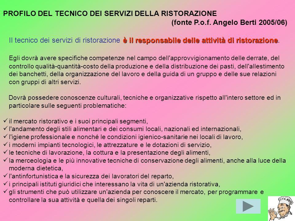PROFILO DEL TECNICO DEI SERVIZI DELLA RISTORAZIONE