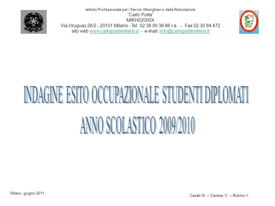 INDAGINE ESITO OCCUPAZIONALE STUDENTI DIPLOMATI