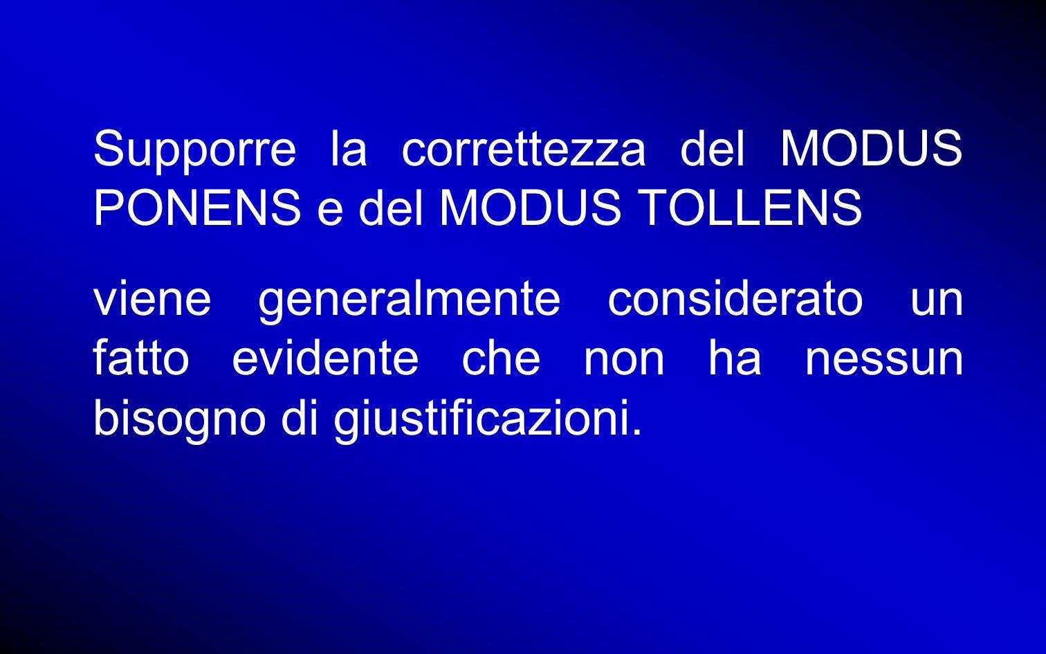 Supporre la correttezza del MODUS PONENS e del MODUS TOLLENS