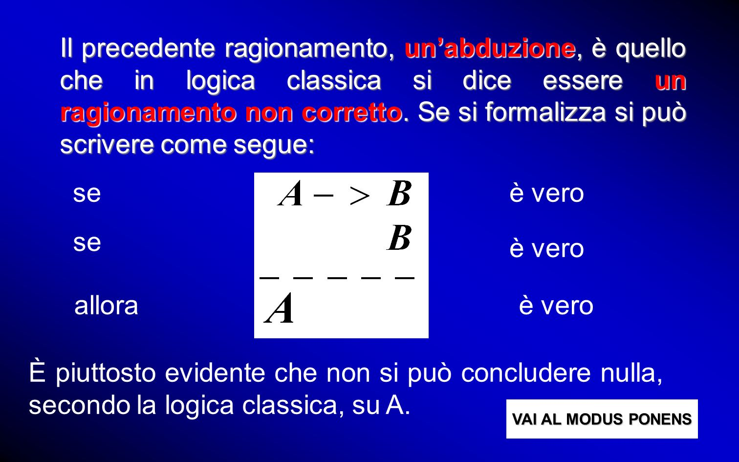 Il precedente ragionamento, un'abduzione, è quello che in logica classica si dice essere un ragionamento non corretto. Se si formalizza si può scrivere come segue: