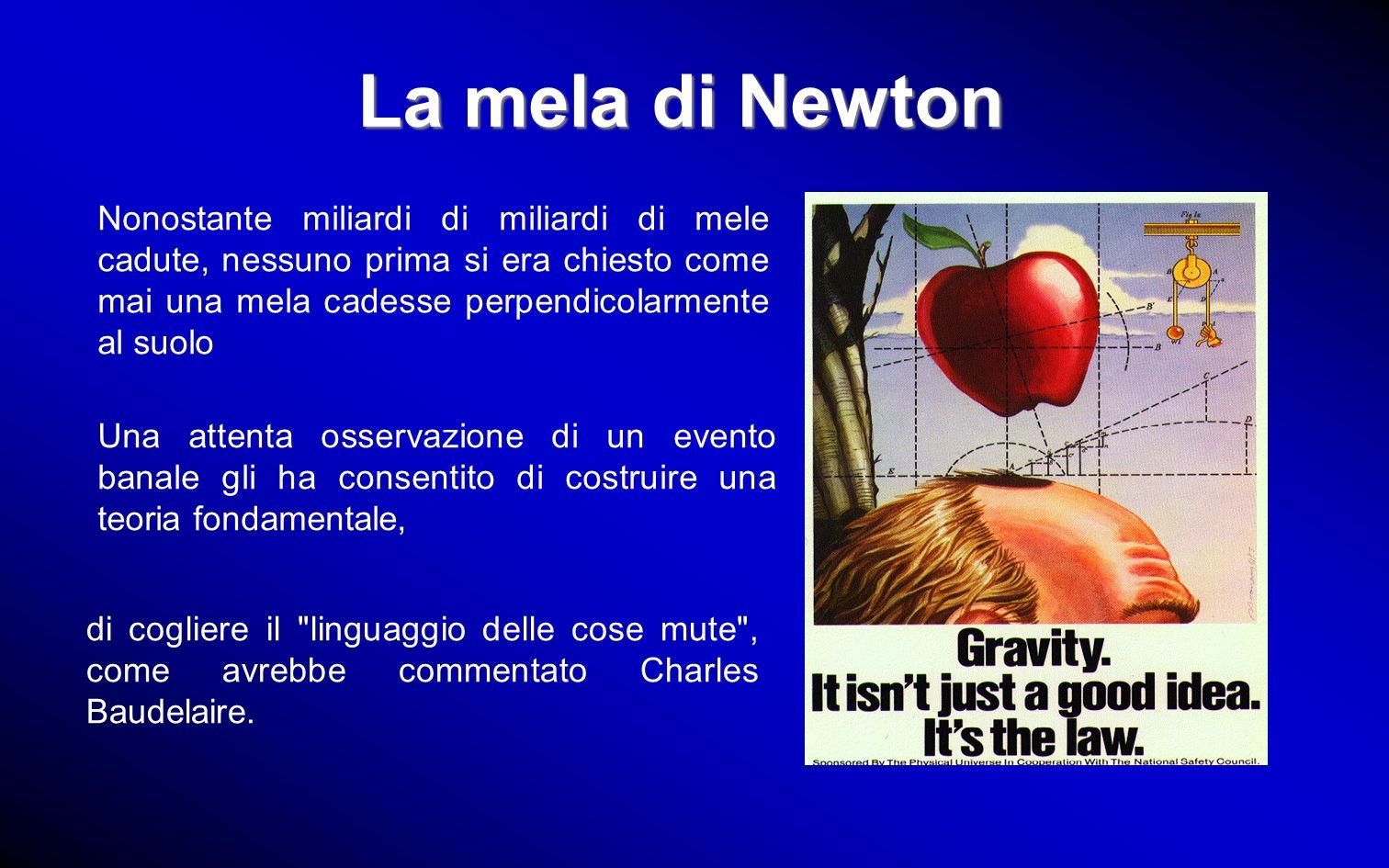 La mela di NewtonNonostante miliardi di miliardi di mele cadute, nessuno prima si era chiesto come mai una mela cadesse perpendicolarmente al suolo.