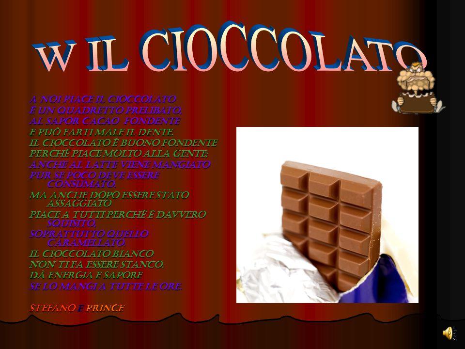 W IL CIOCCOLATO A noi piace il cioccolato è un quadretto prelibato,