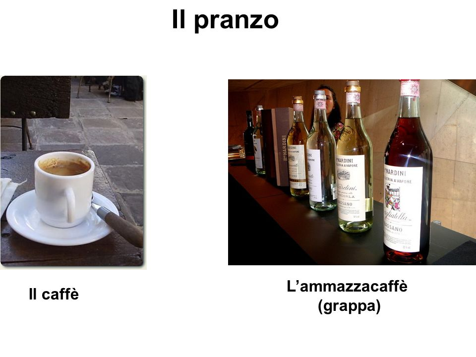 Il pranzo L'ammazzacaffè (grappa) Il caffè