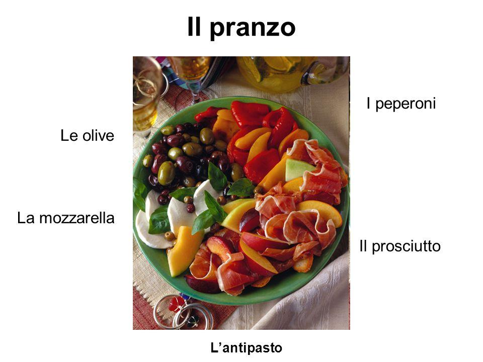 Il pranzo I peperoni Le olive La mozzarella Il prosciutto L'antipasto