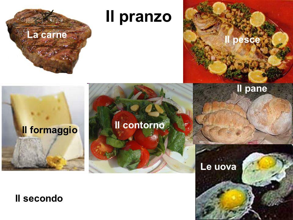 Il pranzo La carne Il pesce Il pane Il contorno Il formaggio Le uova