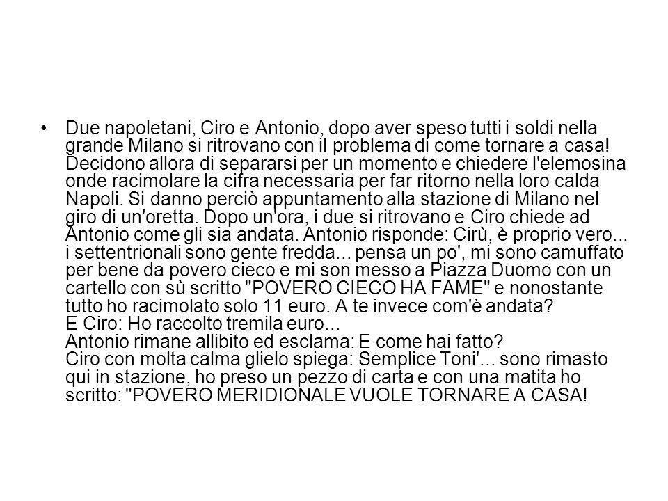 Due napoletani, Ciro e Antonio, dopo aver speso tutti i soldi nella grande Milano si ritrovano con il problema di come tornare a casa.
