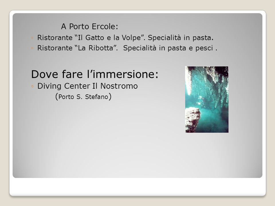 Dove fare l'immersione: