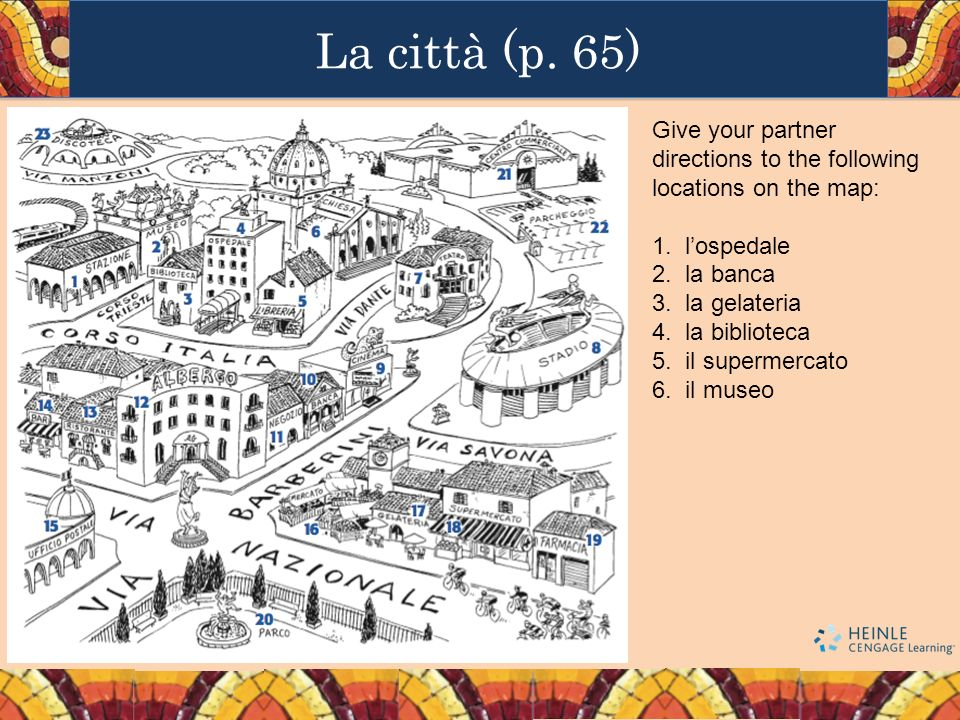 La città (p. 65)Give your partner directions to the following locations on the map: l'ospedale. la banca.