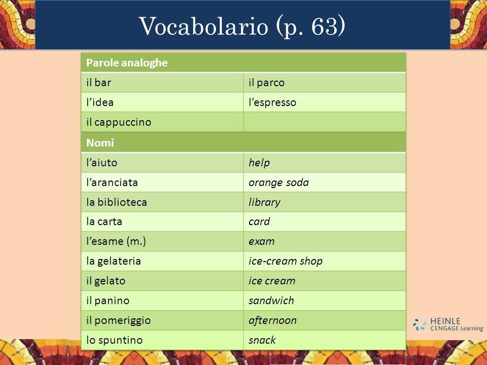 Vocabolario (p. 63) Parole analoghe il bar il parco l'idea l'espresso