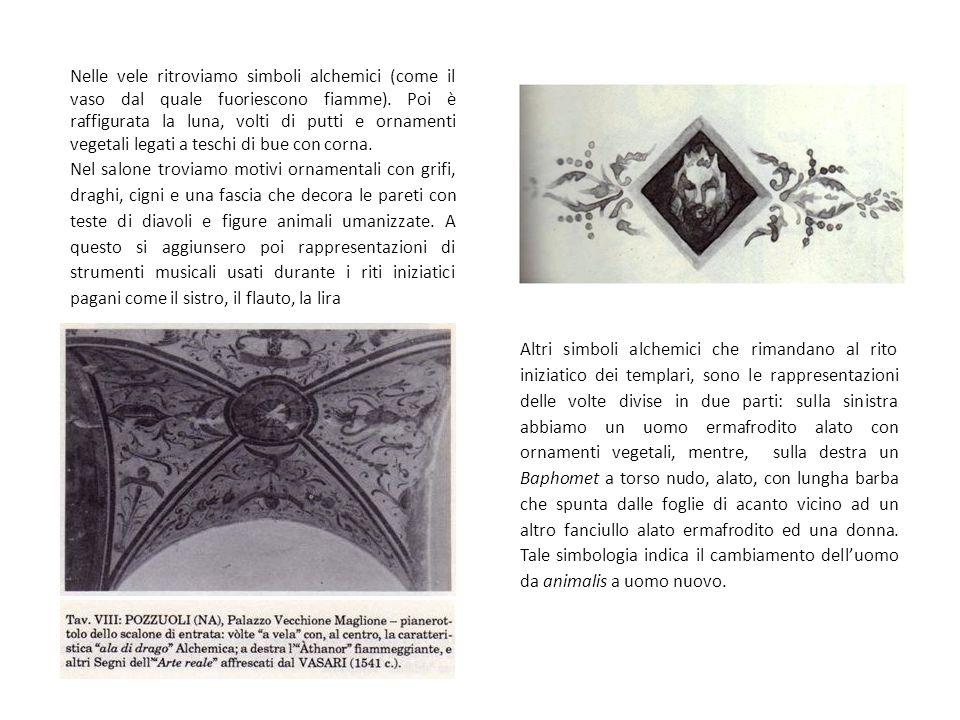 Nelle vele ritroviamo simboli alchemici (come il vaso dal quale fuoriescono fiamme). Poi è raffigurata la luna, volti di putti e ornamenti vegetali legati a teschi di bue con corna.