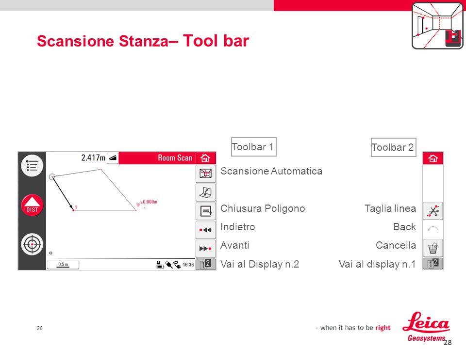 Scansione Stanza– Tool bar