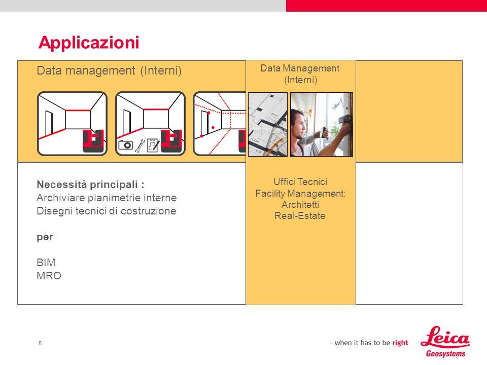 Applicazioni Data management (Interni) Necessità principali :