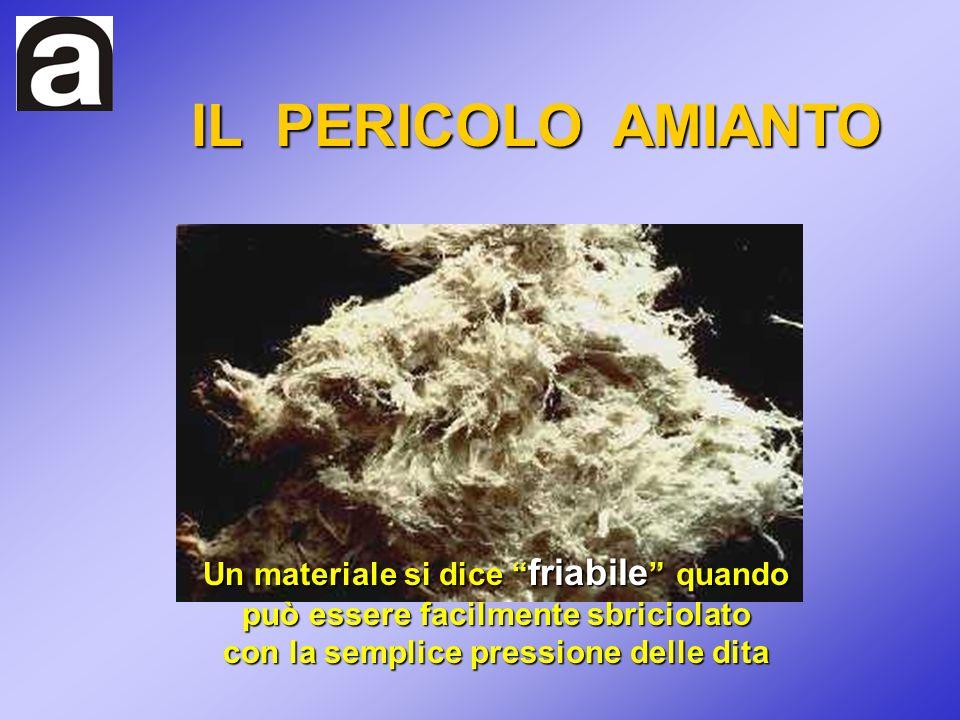 IL PERICOLO AMIANTO Un materiale si dice friabile quando può essere facilmente sbriciolato con la semplice pressione delle dita.
