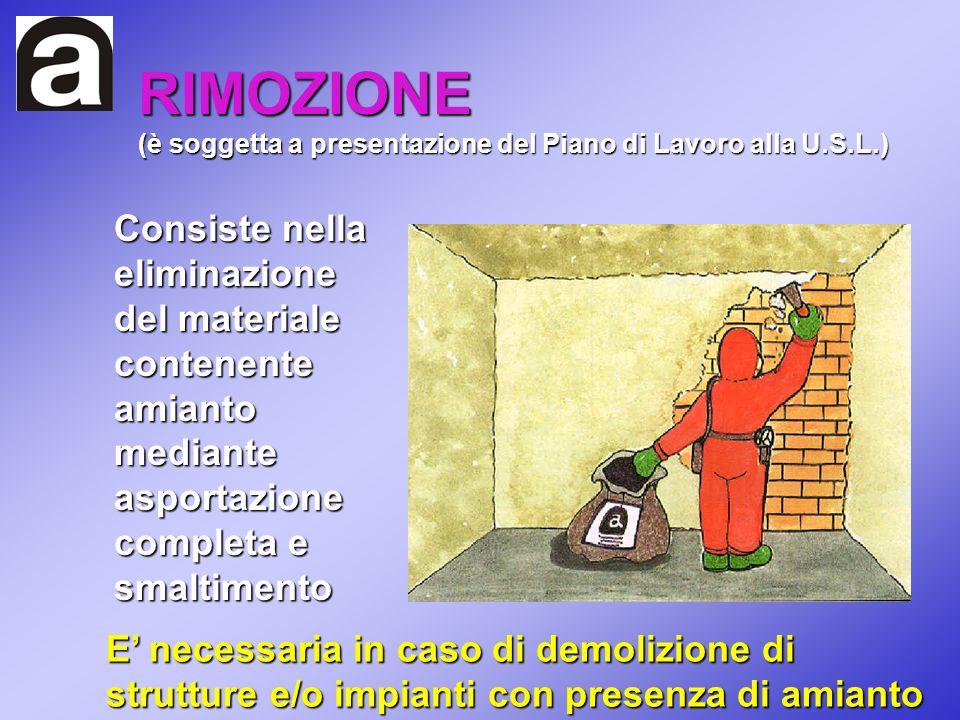 RIMOZIONE (è soggetta a presentazione del Piano di Lavoro alla U.S.L.)
