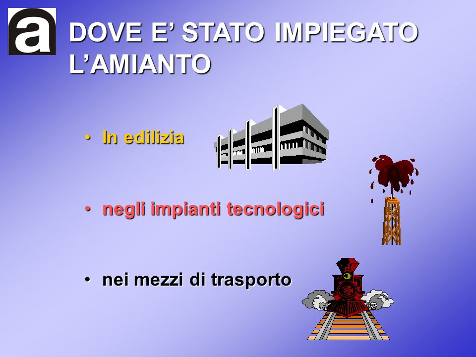 DOVE E' STATO IMPIEGATO L'AMIANTO
