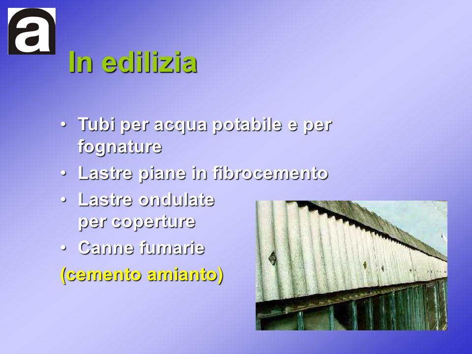 In edilizia Tubi per acqua potabile e per fognature