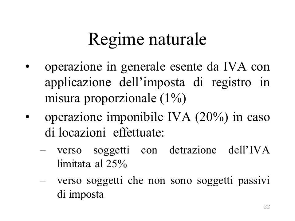 Regime naturale operazione in generale esente da IVA con applicazione dell'imposta di registro in misura proporzionale (1%)