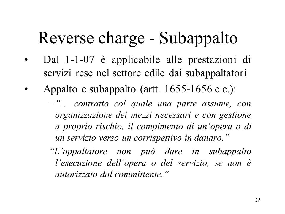 Reverse charge - Subappalto