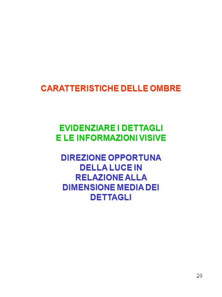 CARATTERISTICHE DELLE OMBRE