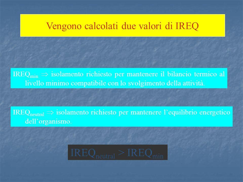 Vengono calcolati due valori di IREQ