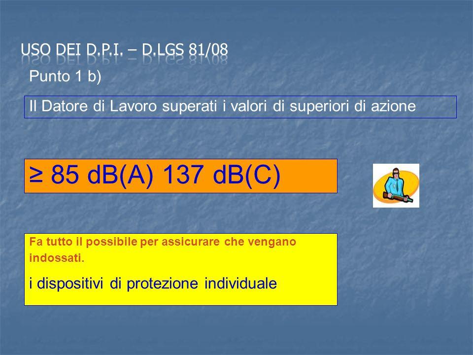 ≥ 85 dB(A) 137 dB(C) Uso dei d.p.i. – D.Lgs 81/08 Punto 1 b)