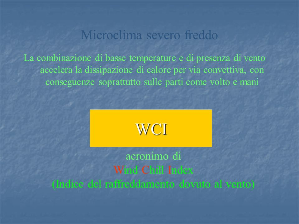 WCI Microclima severo freddo acronimo di Wind Chill Index